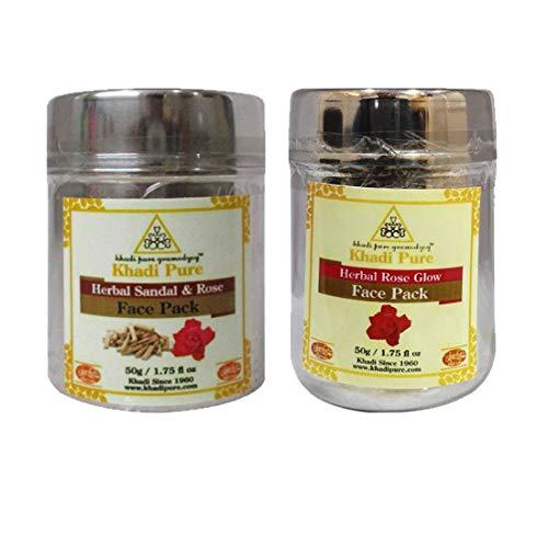 Khadi Pure Sandal Rose & Rose Glow Face Pack, 50 g (Pack of 2)