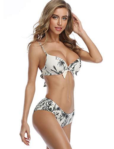 MOVE BEYOND Donna Costume da Bagno Sexy Halter Push Up Imbottito Bikini Due Pezzi Swimwear