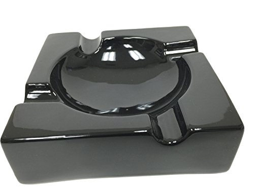 8' Sigara Large Black Ceramic Cigar Ashtray for Patio / Outdoor Use (4 Cigar Rest)