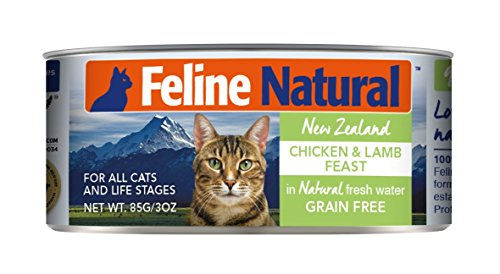 Feline Natural Canned Cat Food Perfect Grain Free, Healthy, Hypoallergenic Limited Ingredients - BPA-Free Wet Cat Food - Nutrition for All Cat Types - Chicken & Lamb - 3oz (24pack)