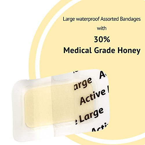 Medical Grade Honey Bandages (5 Pieces in 1 Pack) – 30% Honey – Wounds Healing Antibacterial Waterproof Medicated Best Dressing to Cover Small Cuts, Abrasions, and Burns deal 50% off 41D0HFTKonL
