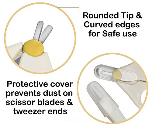41D1%2BvM8zyL LuvLap Child Grooming Scissors & Nail Clipper Set/Equipment, Manicure Set, 4pcs, White, 0m+