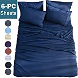 Shilucheng Queen Size 6-Piece Bed Sheets Set Microfiber 1800 Thread Count Percale 16 Inch Deep Pockets Super Soft and Comforterble Wrinkle Fade and Hypoallergenic(Queen,Navy Blue)