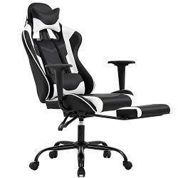 Gaming Chair with Footrest, Ergonomic Office Chair, Adjustable Swivel Leather Desk Chair, Reclining High Back Computer…