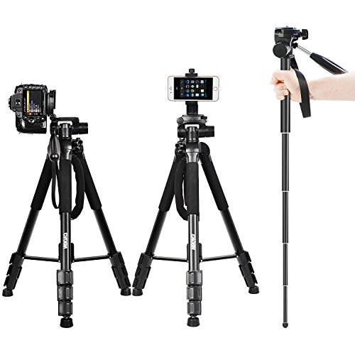 70″ DSLR Camera Tripod Travel Monopod Lightweight Portable Aluminum Tripod Compatible for Canon Nikon Sony SLR Camera with Carry Bag and Cellphone Mount