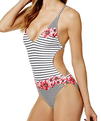 61WfUiEgrcL V-Neck Front One Piece Bathing Suit with Skinny Shoulder Straps Skinny Straps that Criss Cross at Back Mixed Pink Floral and Black Striped Design on Ivory Background