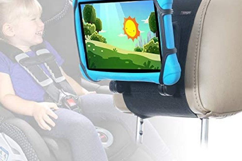TFY Car Headrest Mount for 7-10 inch Fire, Fire HD, Kindle, Kids Edition Tablets, Angle Adjustable Holder with Silicon Holding Net