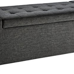 Amazon Basics Rectangular Storage Ottoman Bench with Fabric Upholstery, Large – Anchor Grey