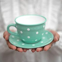 Teal Blue Polka Dot Coffee Tea Cup