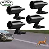 CarNeed 4 Pcs Deer Alert for Vehicles, Avoids Deer Collisions Car Deer Warning, Black Ultrasonic Wildlife Warning for Auto Motorcycle Truck SUV and ATV