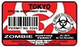 Tokyo Zombie Hunting Permit Sticker Size: 4.95x2.95 Inch (12.5x7.5cm) Cut Decal outbreak response team Japan