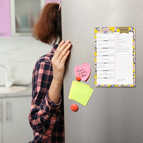 """Oriday Weekly Magnetic Meal Planner Notepad with Tear Off Perforated Grocery Shopping List Checklist for Fridge Door, Kitchen - 52 Sheets, 6"""" X 9"""" - Perfect for Weekly Diet Prep (Menu Planning Pad) 8"""