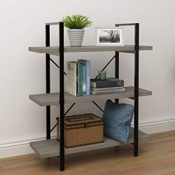 45MinST 3-Tier Vintage Industrial Style Bookcase/Metal and Wood Bookshelf Furniture for Collection,Gray Oak,3/4/5 Tier (3-Tier)