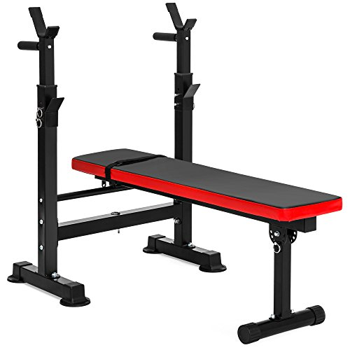 Best Choice Products Adjustable Folding Fitness Barbell Rack and Weight Bench for Home Gym, Strength Training - Black