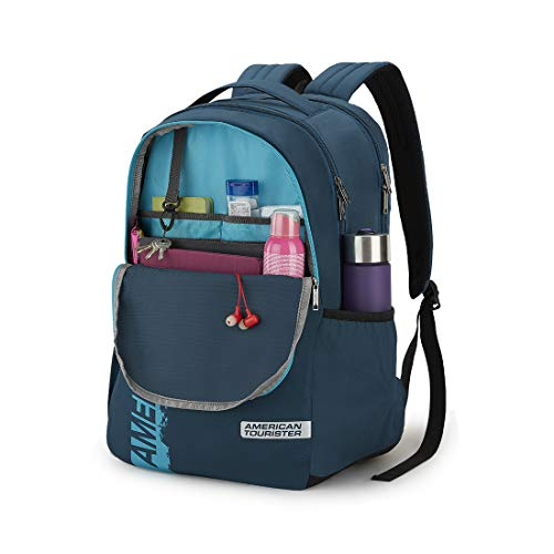 41DJZVA5jOL - American Tourister Spin 49 cms Teal Laptop Backpack (FS0 (0) 11 001)