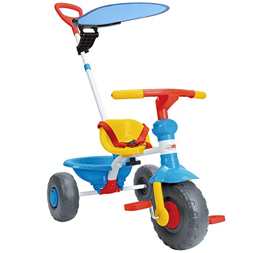 ChromeWheels Kids' Tricycle, with Canopy and Pushing Handle for 1-3 Years Old Toddler, Blue