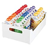 mDesign Stackable Plastic Storage Organizer Containers with Handles for Kitchen Countertop, Cabinet, Pantry, Refrigerator - BPA Free - for Kids Snacks/Food - 10' Wide - White