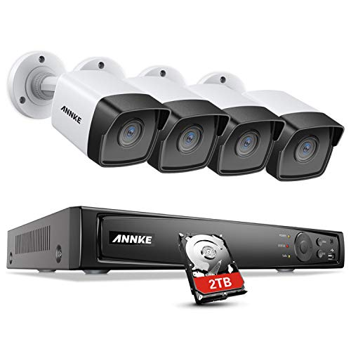 ANNKE 5MP Home Security Camera System H.265+ 8CH Ultra HD 4K PoE NVR with 4X Outdoor Bullet IP Cameras, 100ft Night Vision, 2TB HDD for Long Time Recording, Support ONVIF Motion Detection