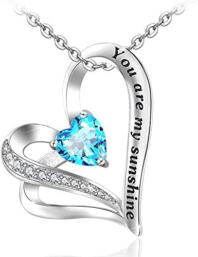 Heart Necklace for Women S925 Sterling Silver You are My Sunshine Heart Pendant Necklaces Gifts Jewelry for Women Girls