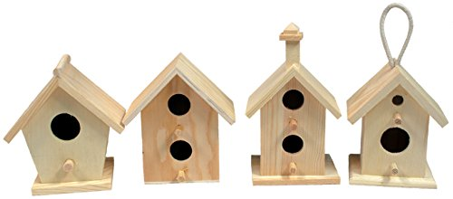Creative-Hobbies-Mini-4-Inch-Tall-Birdhouse-Set-of-4-Styles-Unfinished-Wood-Ready-to-Paint-or-Decorate