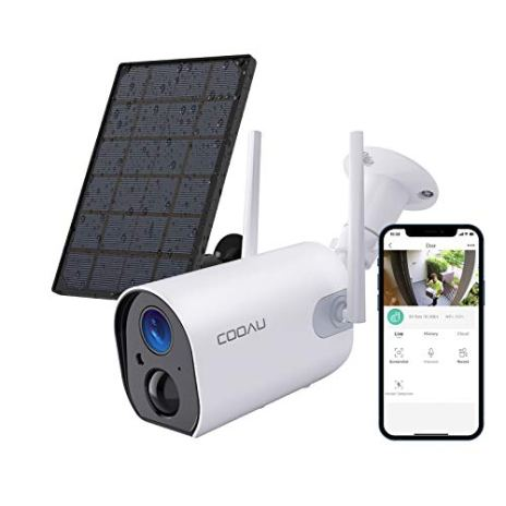 Wireless-Solar-Security-Camera-Outdoor-COOAU-WiFi-Rechargeable-Battery-Powered-Home-Cameras-1080P-Surveillance-Camera-with-Night-Vision-2-Way-Audio-IP65-Waterproof-Encrypted-SDCloud-Storage