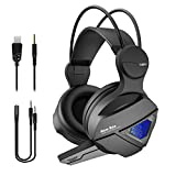 Gaming Headset New bee Stereo Over Ear Gaming Headphone for PS4, PC, Xbox One with Mic, LED Light 3.5mm Wired Volume Control Soft Memory Earmuffs for Laptop, Mac, iPad, Nintendo Switch