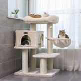 FEANDREA-Cat-Tree-Cat-Tower-with-XXL-Plush-Perch-Basket-Lounger-Cat-Condo-with-Adjustable-Units-Cat-Toys-Extra-Thick-Posts-Completely-Wrapped-in-Sisal-Beige-UPCT01M