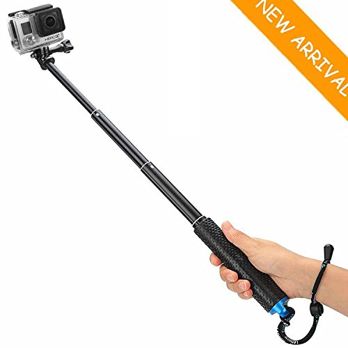 "Selfie Stick for GoPro,19""Waterproof Hand Grip Adjustable Extension Monopod Pole for Gopro Hero 5 4 3+3 2 1 SJ4000 SJ5000 SJ6000 Xiaomi Yi (with Wrist Strap and Screw)"