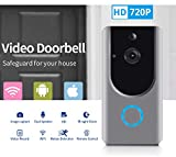 Smart Wireless WiFi Video Doorbell HD Security Camera with PIR Motion Detection Night Vision Two-Way Talk and Real-time Video Suitable etc ... (Grey) (Video Door Bell)
