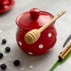 Red Polka Dot Sugar Bowl