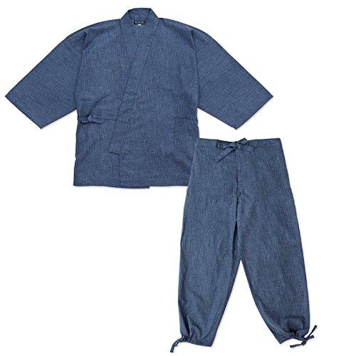 wasuian Men's Samue Work Clothing Splashed Pattern Pongee Large Dark Navy
