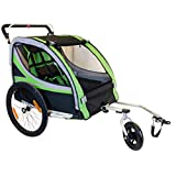 2 in 1 20 Inch Air Inflatable Rubber Wheel Aluminum Alloy Frame Double Child Bike Trailer with Rain Cover Kids Jogger Stroller