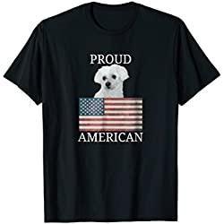 Patriotic Maltese Dog Lover Tshirts American Flag Gift