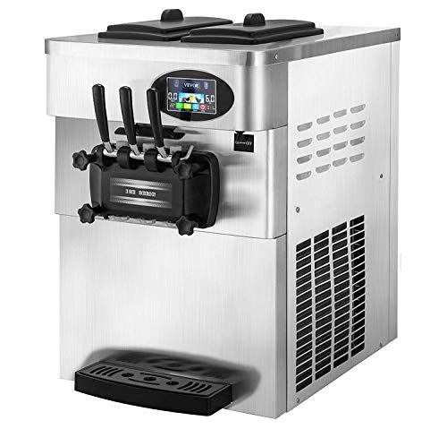 VEVOR-2200W-Commercial-Soft-Ice-Cream-Machine-3-Flavors-53-to-74Gallons-per-Hour-PreCooling-at-Night-Auto-Clean-LCD-Panel-for-Restaurants-Snack-Bar-Silver