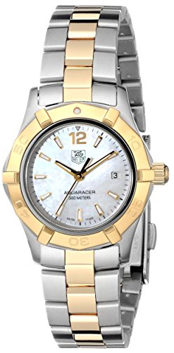 41DoILtg%2BHL Two tone watch in stainless steel with 18k gold bezel and center link, mother-of-pearl dial, and date window Swiss quartz movement with analog display Protective anti-reflective sapphire crystal dial window