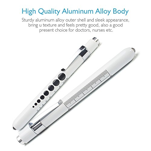 Opoway Nurse Penlight LED Medical Pen Light with Pupil Gauge Measurements for Nursing Students Doctors Stethoscope Medical Occasion with Durable Batteries Free, White, 2 Piece deal 50% off 41DqOeggmSL