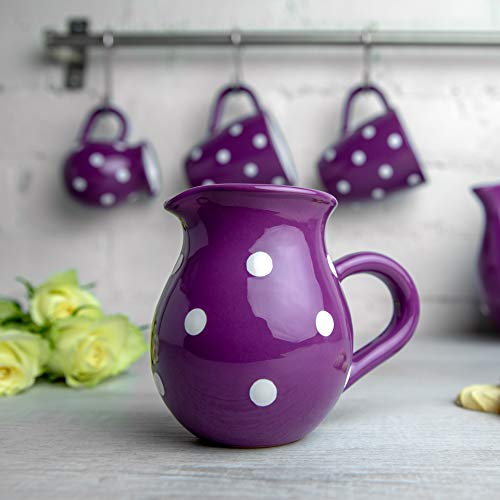 Purple Polka Dot Creamer Milk Jug