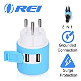 Israel, Palestine Travel Plug Adapter by OREI with Dual USB - USA Input + Surge Protection - Type H (U2U-14), Will Work with Cell Phones, Camera, Laptop, Tablets, iPad, iPhone and More
