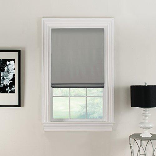 Furniture Fresh Flat Roman Shades-Blackout, Thermal-(32' W x 72' L, Stone)-Linen & Polyester-Cordless