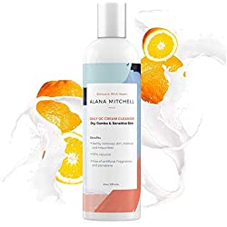 All Natural Daily Facial Cleanser Cream w/Coconut Oil & Pure Extracts By Alana Mitchell (8oz) - Oil Control Wash - Soap Free Face Cleansing For All Skin Types - Remove Dirt, Impurities & Makeup