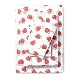 Room Essentials Microfiber Sheet Set Prints - Coral Floral Blooms (Full Size) 4 Piece