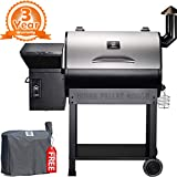 Z GRILLS ZPG-7002E 2019 New Model Wood Pellet Grill & Smoker, 8 in 1 BBQ Grill Auto Temperature Control, 700 sq inch Cooking Area, Silver Cover Included