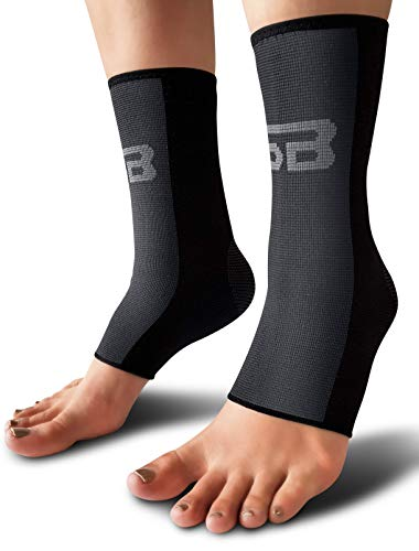 SB SOX Compression Ankle Brace (Pair) - Great Ankle Support That Stays in Place - for Sprained Ankle and Achilles Tendon Support - Perfect Ankle Sleeve for Sports, Any Use (Black/Gray, Large)