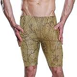 Vintage Ancient Atlas Map World Swimwear Mens Swim Jammer Shorts Swimsuit for Boys