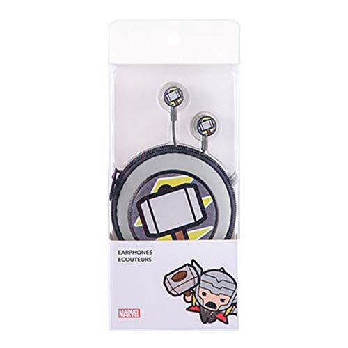 MINISO Marvel in-Ear Headphones with Microphone, Thor Storage Bag Wired Headset