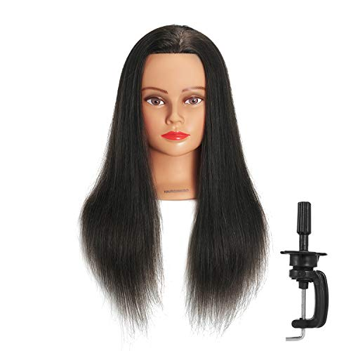 Hairginkgo Mannequin Head 20'-22' 100% Human Hair Manikin Head Hairdresser Training Head Cosmetology Doll Head for Styling Dye Cutting Braiding Practice with Clamp Stand (91812LB0214)