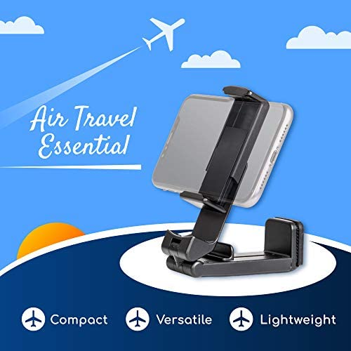 Universal Airplane in Flight Phone Mount. Handsfree Phone Holder for Desk with Multi-Directional Dual 360 Degree Rotation. Pocket Size Travel Essential Accessory for Flying. US Patent: US10,272,847 B1