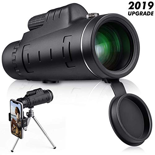 Monocular Telescope, High Power Monocular Scope Waterproof Monoculars with Phone Clip and Tripod for Cell Phone for Bird Watching