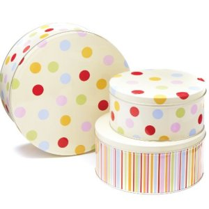 Cooksmart Cake Tins, Stackable, Spots, Set of 3 41EEVaGatDL