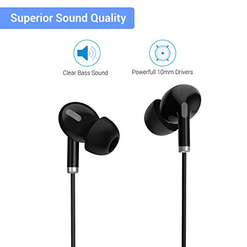 41EGxePx TL Portronics Conch Delta in-Ear Wired Earphone, 1.2m Tangle Free Cable, in-Line Mic, Noise Reduction, 3.5mm Aux Port and High Bass, for All Android & iOS Devices(Black)